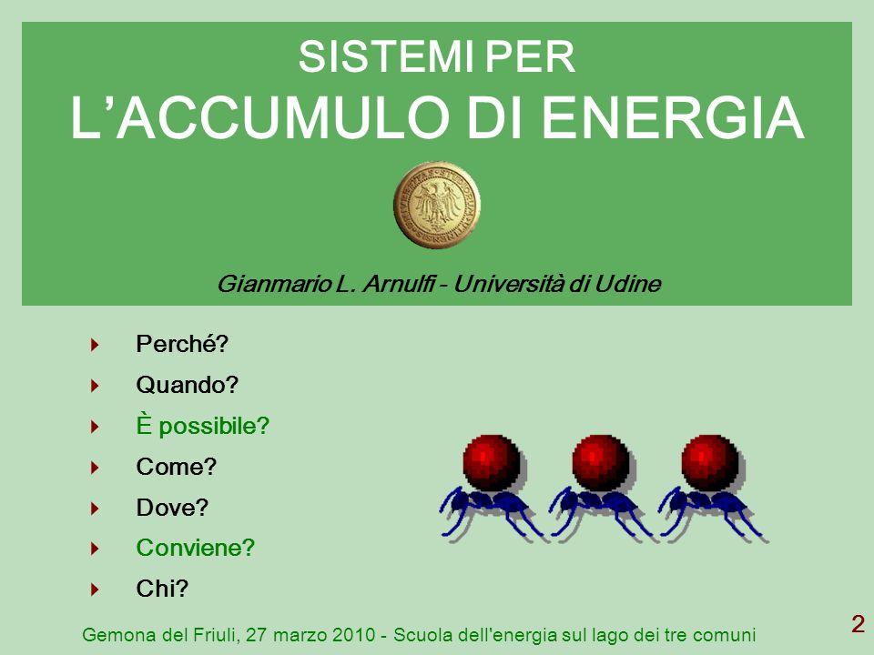 Gemona del Friuli, 27 marzo 2010 - Scuola dell'energia sul lago dei tre comuni 2 SISTEMI PER LACCUMULO DI ENERGIA Gianmario L. Arnulfi - Università di