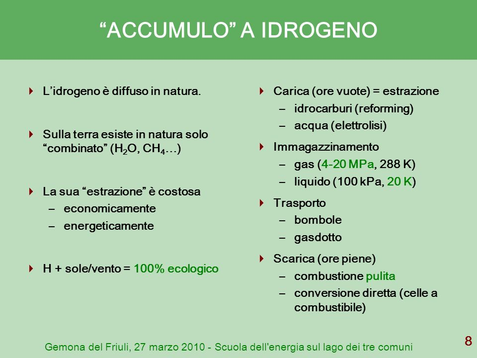 Gemona del Friuli, 27 marzo 2010 - Scuola dell'energia sul lago dei tre comuni 8 ACCUMULO A IDROGENO Lidrogeno è diffuso in natura. Sulla terra esiste