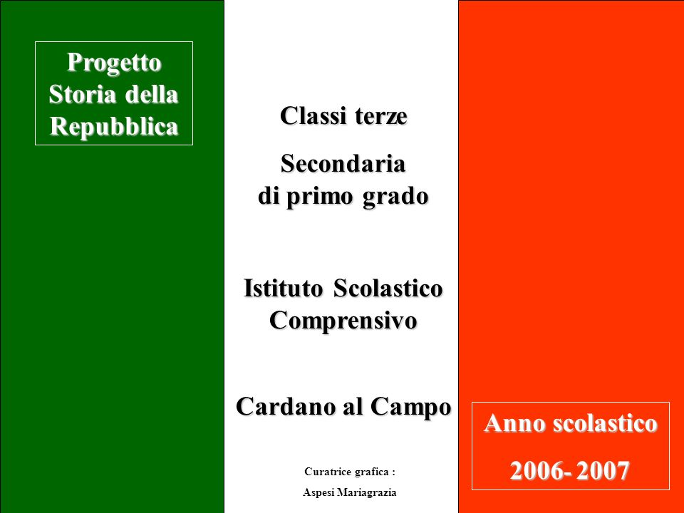 Classi terze Secondaria di primo grado Istituto Scolastico Comprensivo Cardano al Campo Progetto Storia della Repubblica Anno scolastico 2006 - 2007 C