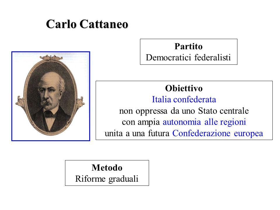 Carlo Cattaneo Partito Democratici federalisti Obiettivo Italia confederata non oppressa da uno Stato centrale con ampia autonomia alle regioni unita
