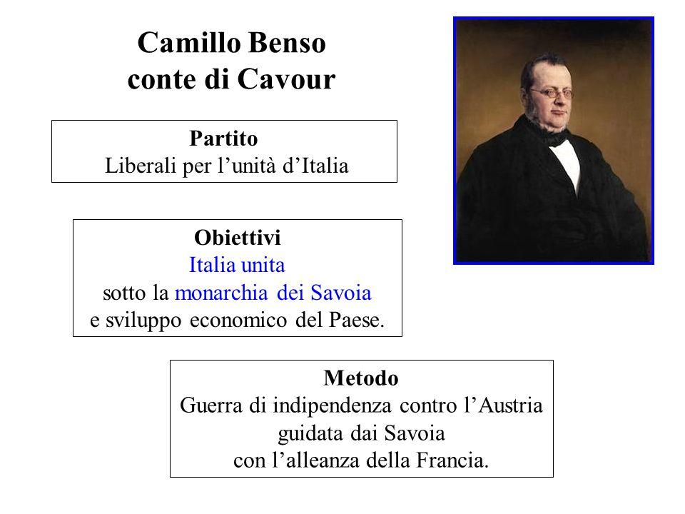 Camillo Benso conte di Cavour Partito Liberali per lunità dItalia Obiettivi Italia unita sotto la monarchia dei Savoia e sviluppo economico del Paese.