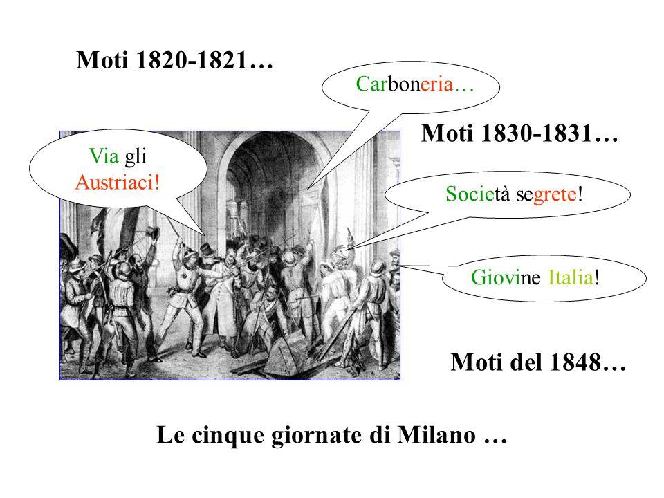Moti 1820-1821… Moti 1830-1831… Moti del 1848… Le cinque giornate di Milano … Carboneria… Giovine Italia! Via gli Austriaci! Società segrete!
