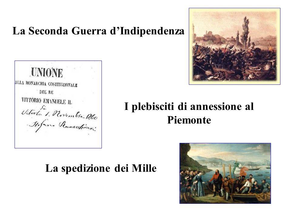 La Seconda Guerra dIndipendenza La spedizione dei Mille I plebisciti di annessione al Piemonte