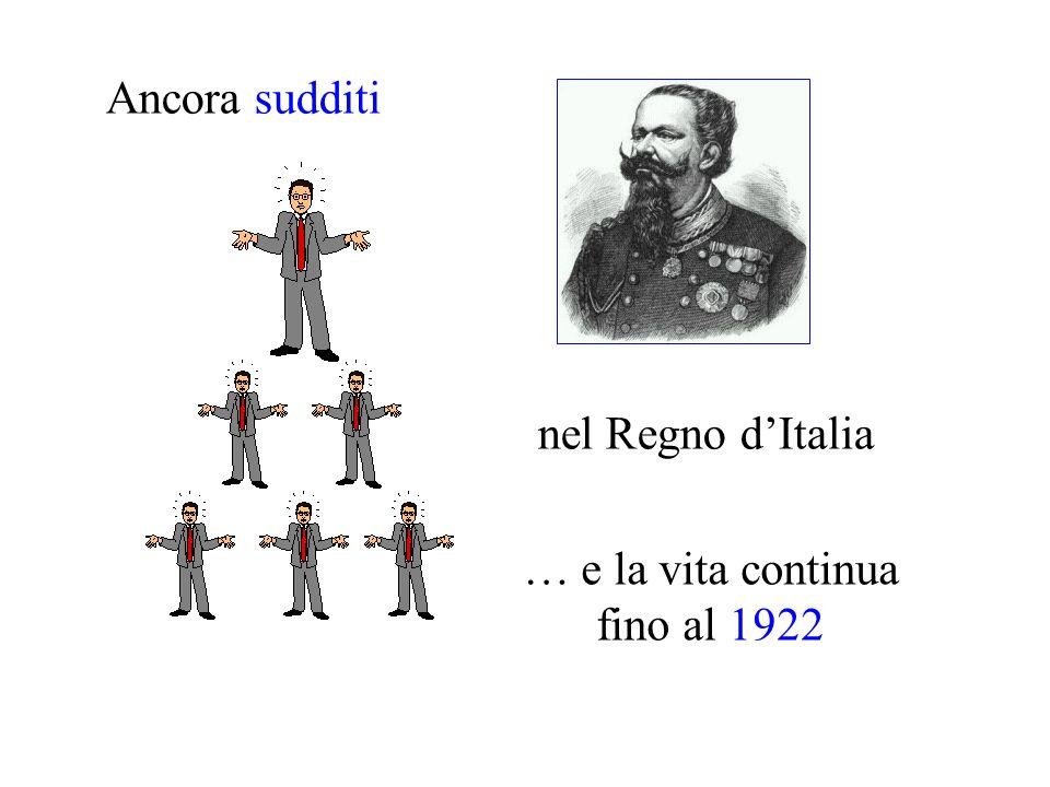 Ancora sudditi nel Regno dItalia … e la vita continua fino al 1922