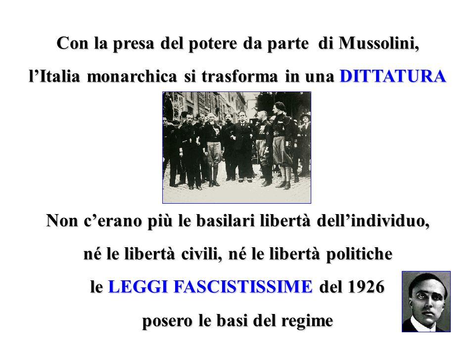 Con la presa del potere da parte di Mussolini, lItalia monarchica si trasforma in una DITTATURA Non cerano più le basilari libertà dellindividuo, né l