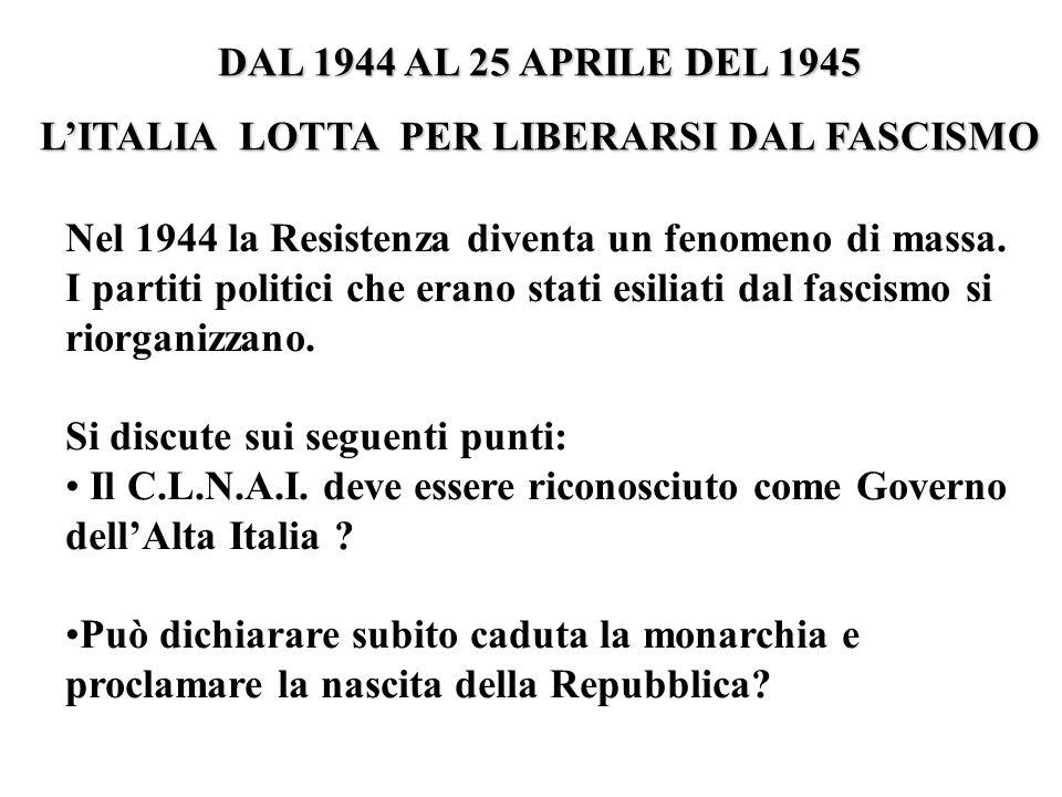 Nel 1944 la Resistenza diventa un fenomeno di massa. I partiti politici che erano stati esiliati dal fascismo si riorganizzano. Si discute sui seguent