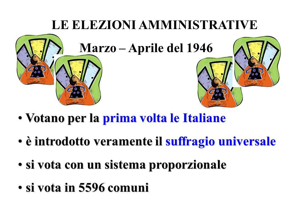 LE ELEZIONI AMMINISTRATIVE Marzo – Aprile del 1946 Votano per la prima volta le Italiane Votano per la prima volta le Italiane è introdotto veramente