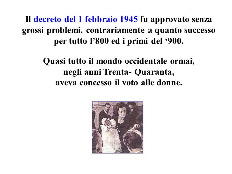 Il decreto del 1 febbraio 1945 fu approvato senza grossi problemi, contrariamente a quanto successo per tutto l800 ed i primi del 900. Quasi tutto il