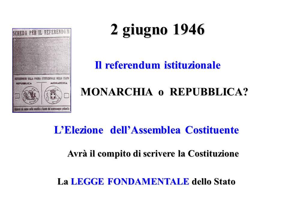 2 giugno 1946 Il referendum istituzionale MONARCHIA o REPUBBLICA? LElezione dellAssemblea Costituente Avrà il compito di scrivere la Costituzione La L