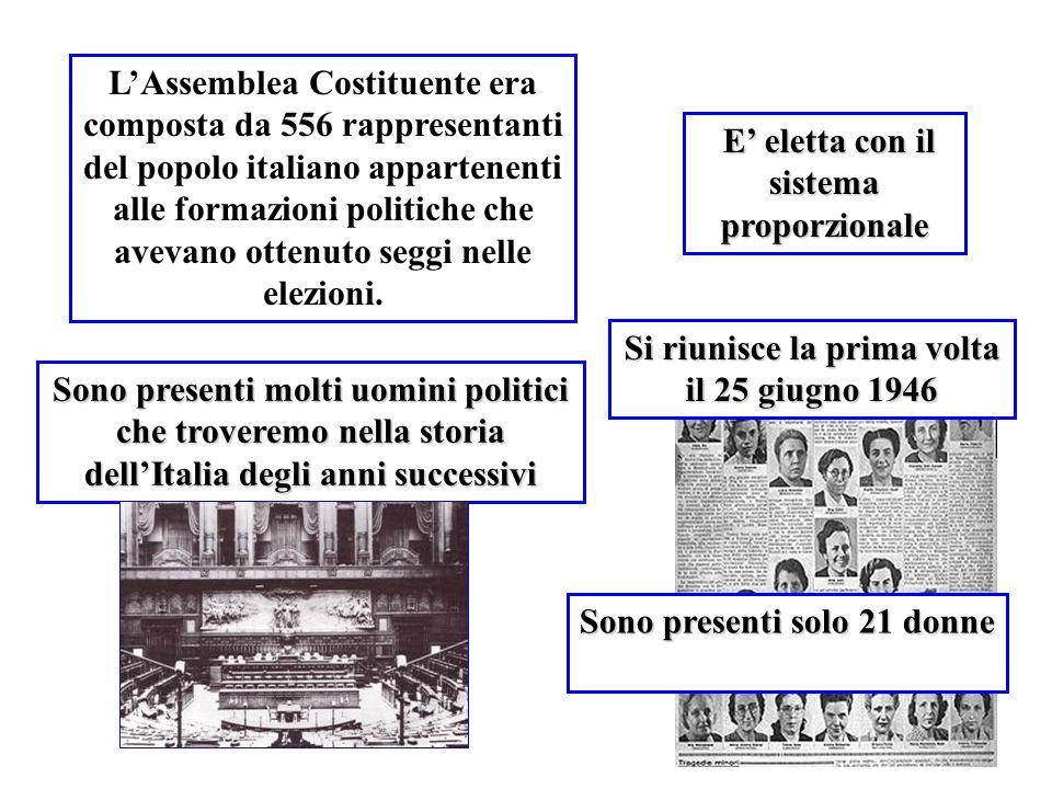 LAssemblea Costituente era composta da 556 rappresentanti del popolo italiano appartenenti alle formazioni politiche che avevano ottenuto seggi nelle