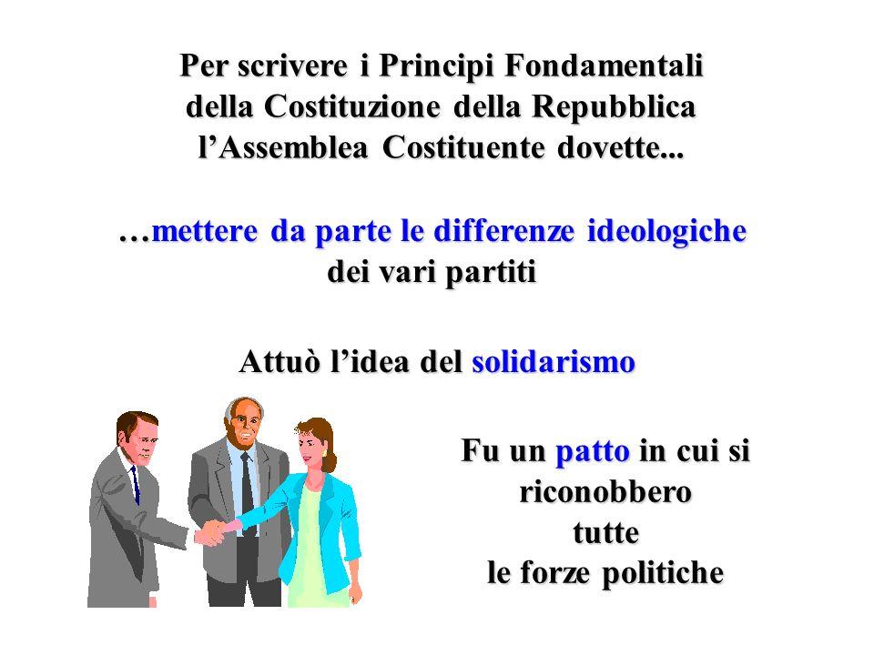 Per scrivere i Principi Fondamentali della Costituzione della Repubblica lAssemblea Costituente dovette... …mettere da parte le differenze ideologiche