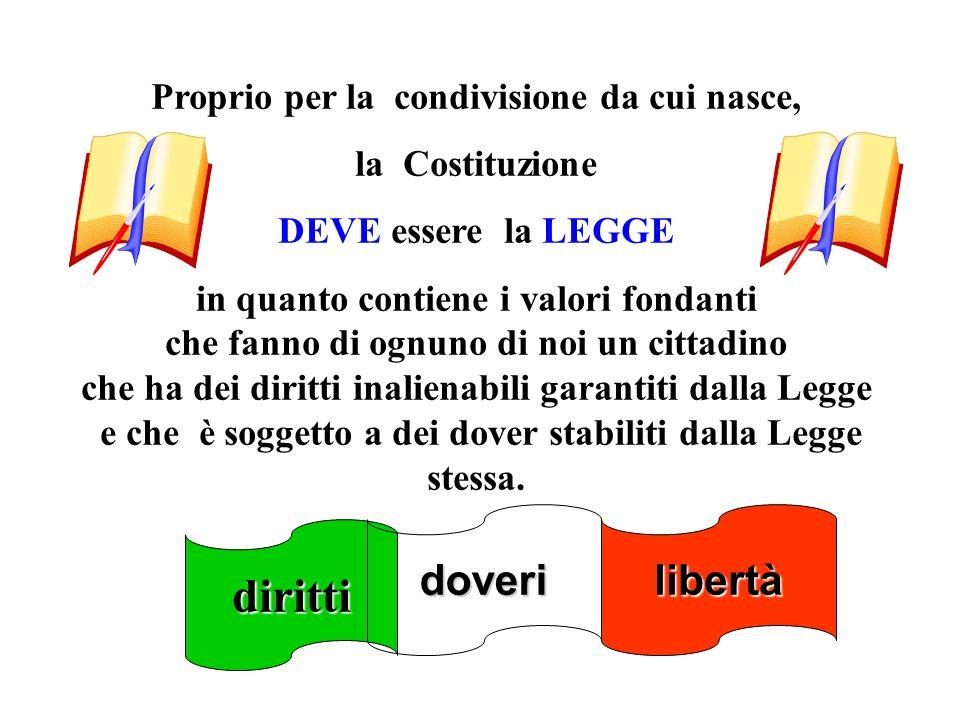 Proprio per la condivisione da cui nasce, la Costituzione DEVE essere la LEGGE in quanto contiene i valori fondanti che fanno di ognuno di noi un citt