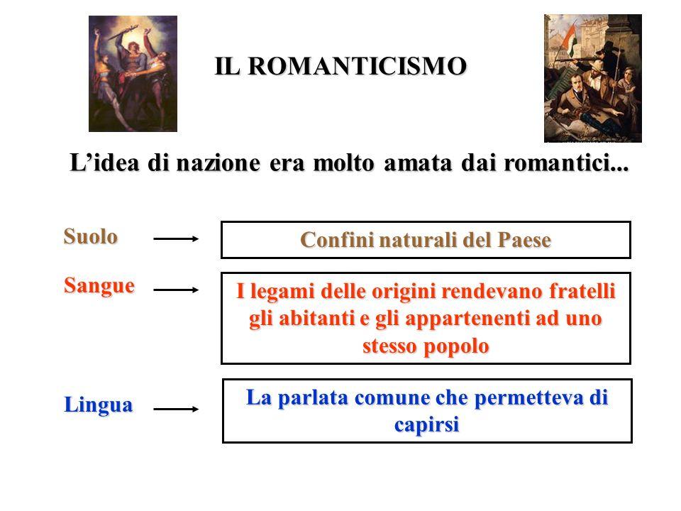 IL ROMANTICISMO Lidea di nazione era molto amata dai romantici... Suolo Confini naturali del Paese Sangue I legami delle origini rendevano fratelli gl