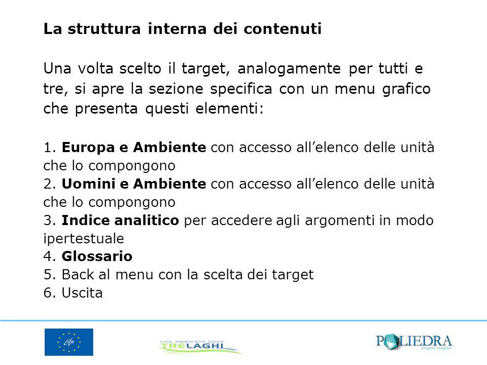La struttura interna dei contenuti Una volta scelto il target, analogamente per tutti e tre, si apre la sezione specifica con un menu grafico che presenta questi elementi: 1.