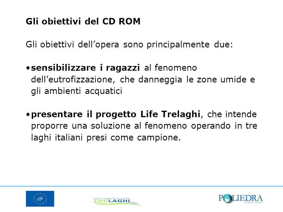 Gli obiettivi del CD ROM Gli obiettivi dellopera sono principalmente due: sensibilizzare i ragazzi al fenomeno delleutrofizzazione, che danneggia le z