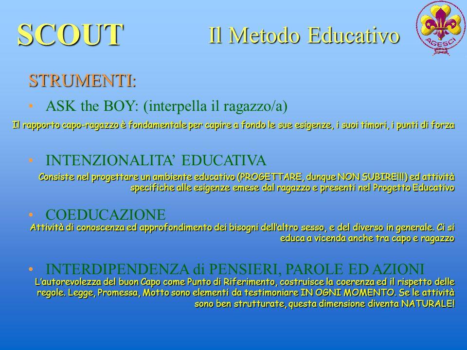 SCOUT Il Metodo Educativo STRUMENTI: ASK the BOY: (interpella il ragazzo/a) INTENZIONALITA EDUCATIVA COEDUCAZIONE INTERDIPENDENZA di PENSIERI, PAROLE