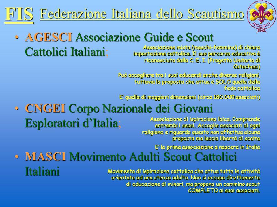 FIS AGESCIAssociazione Guide e Scout Cattolici ItalianiAGESCI Associazione Guide e Scout Cattolici Italiani; Federazione Italiana dello Scautismo CNGE