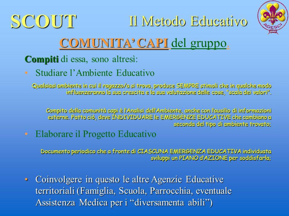 SCOUT Il Metodo Educativo COMUNITA CAPI COMUNITA CAPI del gruppo. Compiti Compiti di essa, sono altresì: Studiare lAmbiente Educativo Elaborare il Pro