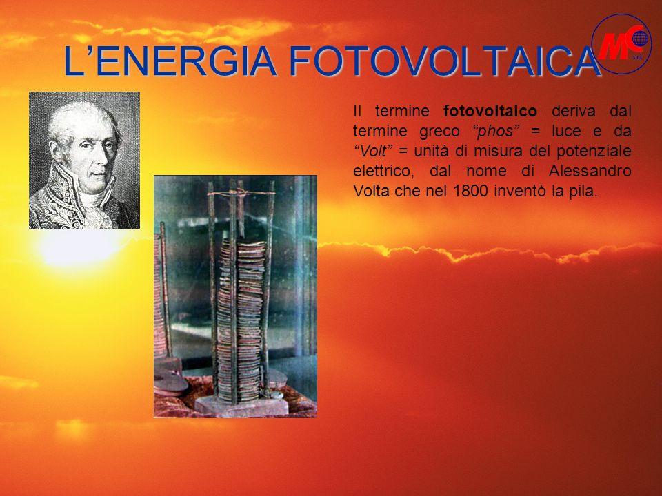 LENERGIA FOTOVOLTAICA Il termine fotovoltaico deriva dal termine greco phos = luce e da Volt = unità di misura del potenziale elettrico, dal nome di A