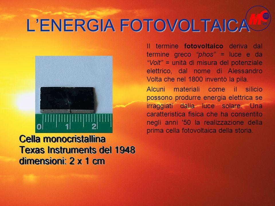 LENERGIA FOTOVOLTAICA Alcuni materiali come il silicio possono produrre energia elettrica se irraggiati dalla luce solare. Una caratteristica fisica c