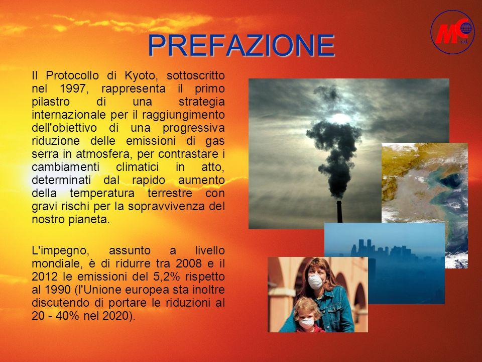PREFAZIONE L'impegno, assunto a livello mondiale, è di ridurre tra 2008 e il 2012 le emissioni del 5,2% rispetto al 1990 (l'Unione europea sta inoltre