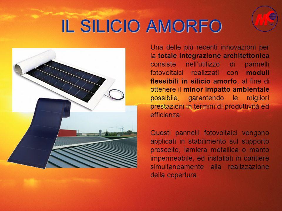 IL SILICIO AMORFO Una delle più recenti innovazioni per la totale integrazione architettonica consiste nellutilizzo di pannelli fotovoltaici realizzat