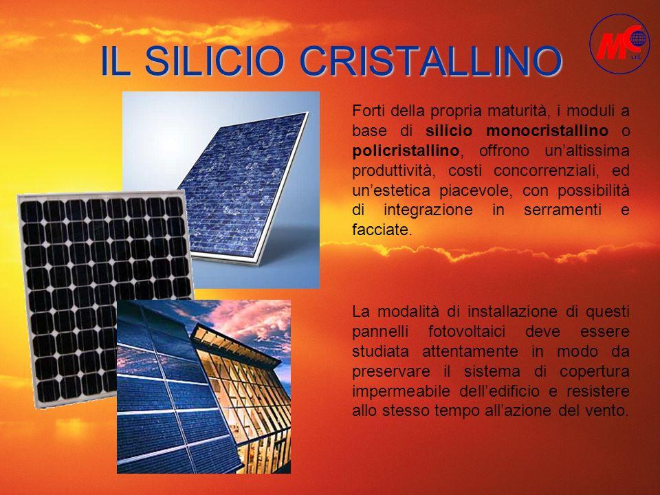 IL SILICIO CRISTALLINO Forti della propria maturità, i moduli a base di silicio monocristallino o policristallino, offrono unaltissima produttività, c