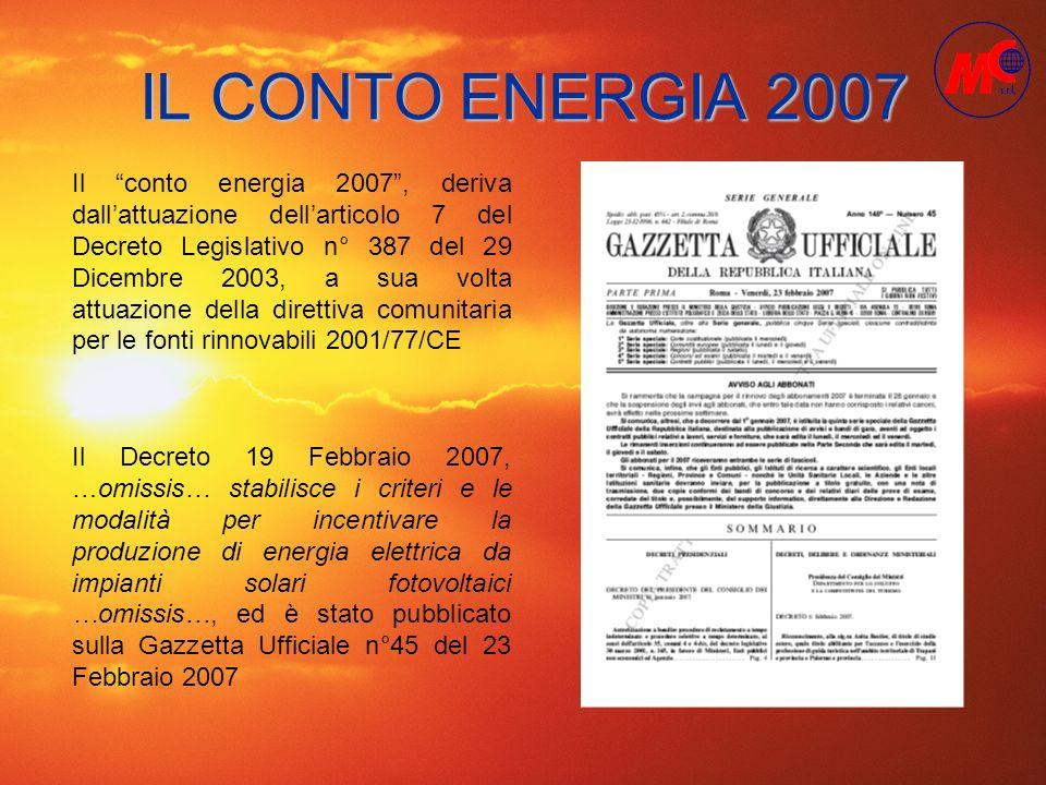 IL CONTO ENERGIA 2007 Il conto energia 2007, deriva dallattuazione dellarticolo 7 del Decreto Legislativo n° 387 del 29 Dicembre 2003, a sua volta att