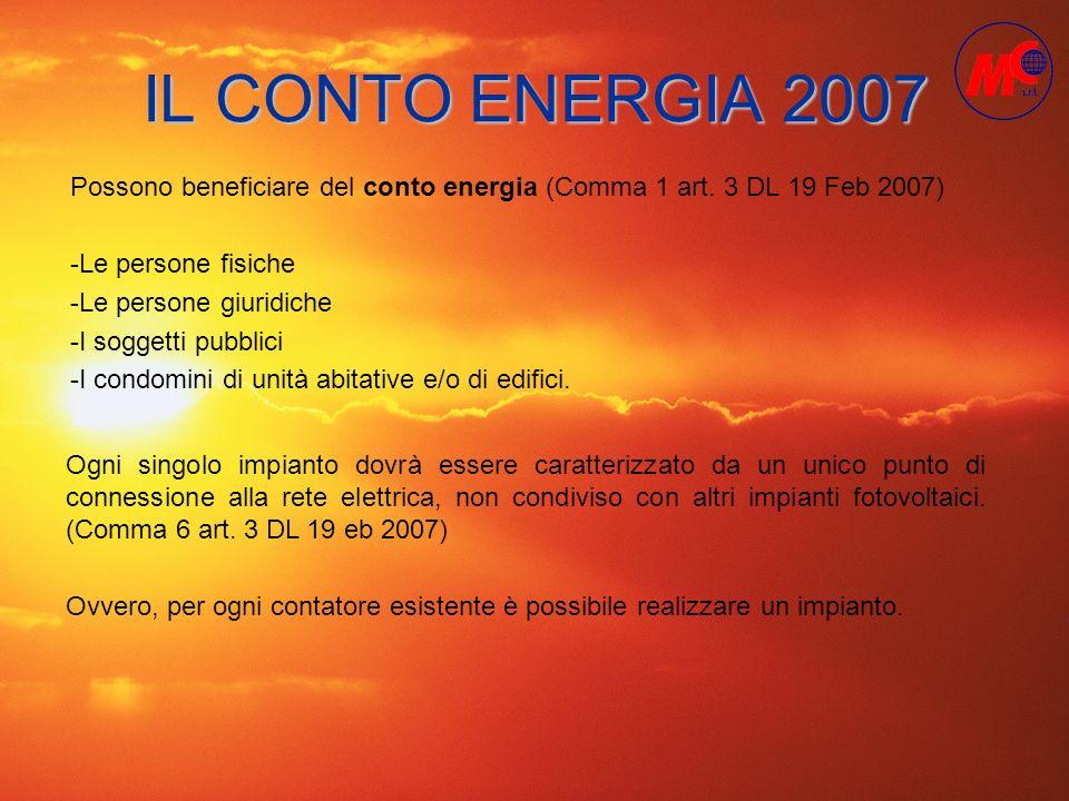IL CONTO ENERGIA 2007 Possono beneficiare del conto energia (Comma 1 art. 3 DL 19 Feb 2007) -Le persone fisiche -Le persone giuridiche -I soggetti pub