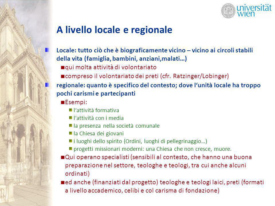 A livello locale e regionale Locale: tutto ciò che è biograficamente vicino – vicino ai circoli stabili della vita (famiglia, bambini, anziani,malati…