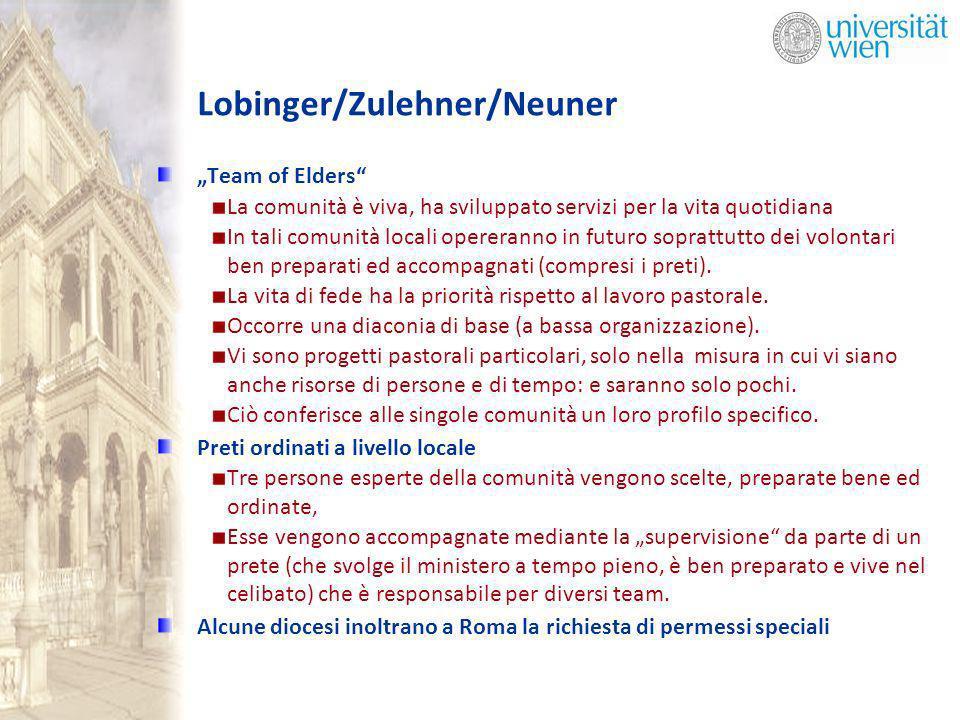 Lobinger/Zulehner/Neuner Team of Elders La comunità è viva, ha sviluppato servizi per la vita quotidiana In tali comunità locali opereranno in futuro soprattutto dei volontari ben preparati ed accompagnati (compresi i preti).