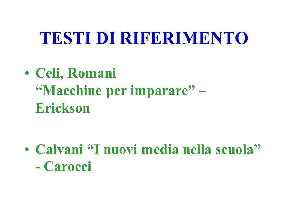 TESTI DI RIFERIMENTO Celi, Romani Macchine per imparare – Erickson Calvani I nuovi media nella scuola - Carocci