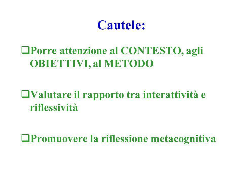 Cautele: Porre attenzione al CONTESTO, agli OBIETTIVI, al METODO Valutare il rapporto tra interattività e riflessività Promuovere la riflessione metacognitiva