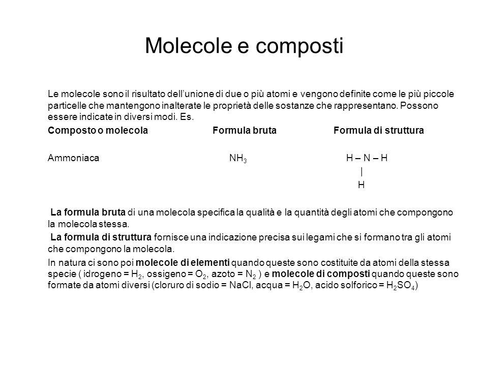 Molecole e composti Le molecole sono il risultato dellunione di due o più atomi e vengono definite come le più piccole particelle che mantengono inalt