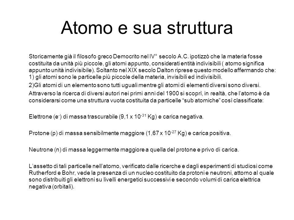 Atomo e sua struttura Storicamente già il filosofo greco Democrito nel IV° secolo A.C. ipotizzò che la materia fosse costituita da unità più piccole,