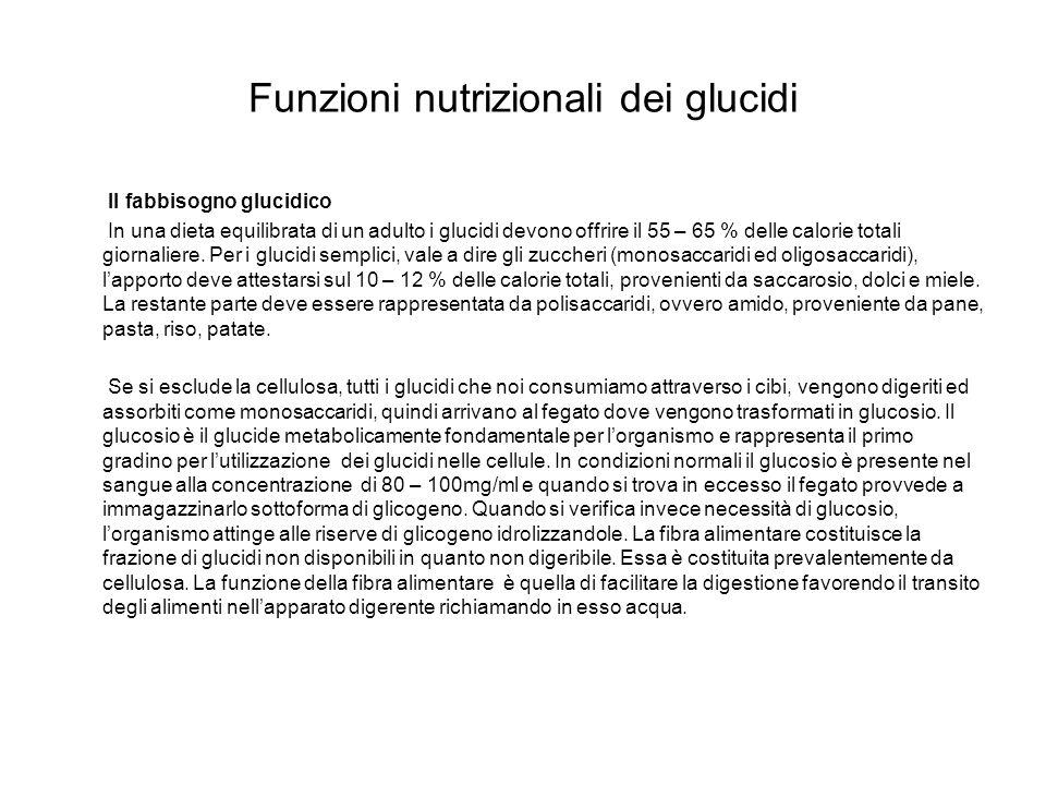 Funzioni nutrizionali dei glucidi Il fabbisogno glucidico In una dieta equilibrata di un adulto i glucidi devono offrire il 55 – 65 % delle calorie to