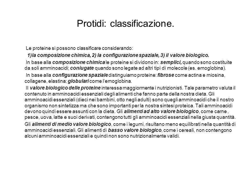 Protidi: classificazione. Le proteine si possono classificare considerando: 1)la composizione chimica, 2) la configurazione spaziale, 3) il valore bio