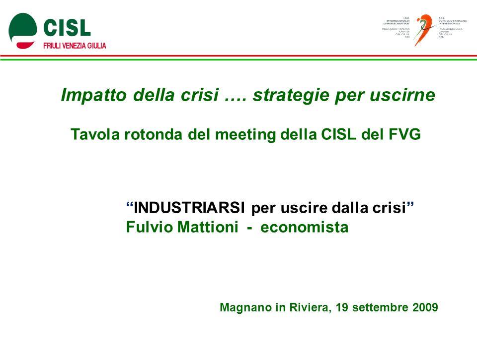 Impatto della crisi …. strategie per uscirne Tavola rotonda del meeting della CISL del FVG Magnano in Riviera, 19 settembre 2009 INDUSTRIARSI per usci