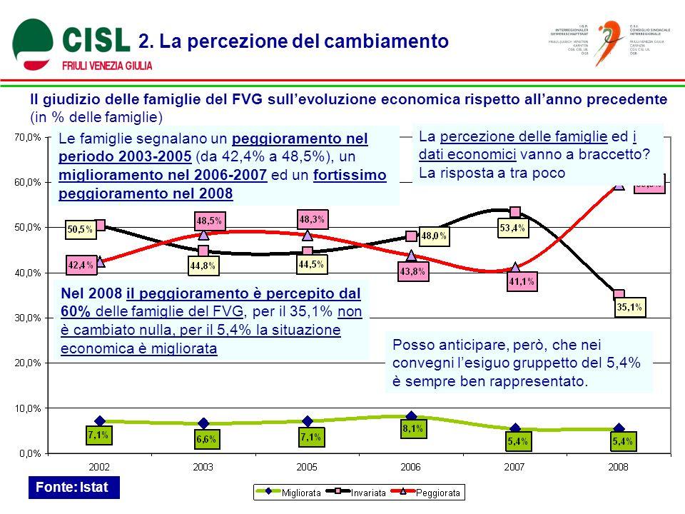2. La percezione del cambiamento Il giudizio delle famiglie del FVG sullevoluzione economica rispetto allanno precedente (in % delle famiglie) Fonte: