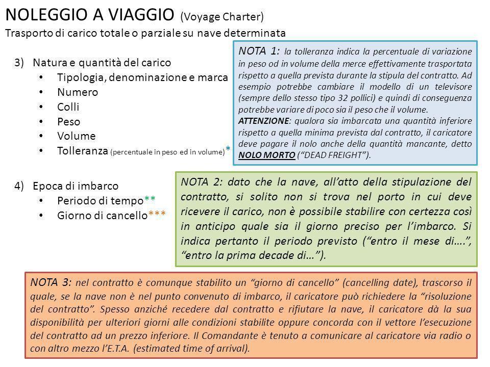 NOLEGGIO A VIAGGIO (Voyage Charter) Trasporto di carico totale o parziale su nave determinata 3) Natura e quantità del carico Tipologia, denominazione