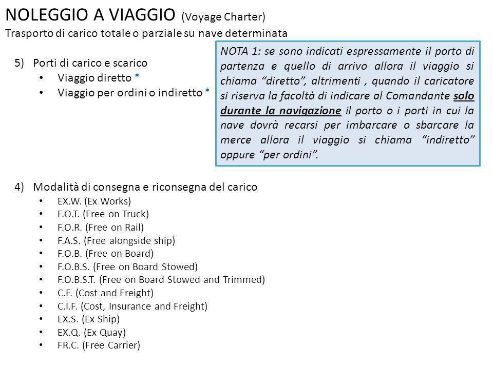 NOLEGGIO A VIAGGIO (Voyage Charter) Trasporto di carico totale o parziale su nave determinata 5) Porti di carico e scarico Viaggio diretto * Viaggio p
