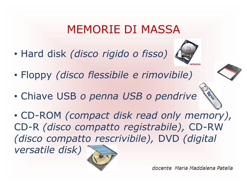 MEMORIE DI MASSA docente Maria Maddalena Patella Hard disk (disco rigido o fisso) Floppy (disco flessibile e rimovibile) Chiave USB o penna USB o pend