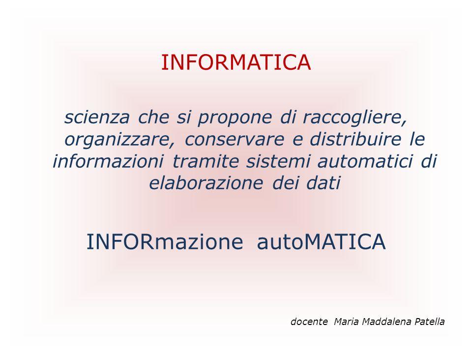 INFORMATICA scienza che si propone di raccogliere, organizzare, conservare e distribuire le informazioni tramite sistemi automatici di elaborazione de
