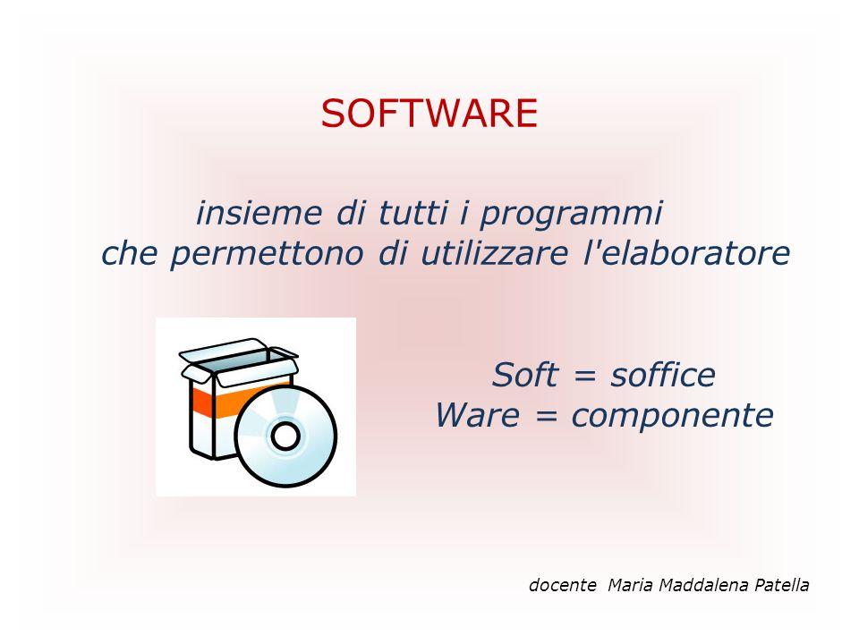 SOFTWARE insieme di tutti i programmi che permettono di utilizzare l'elaboratore docente Maria Maddalena Patella Soft = soffice Ware = componente