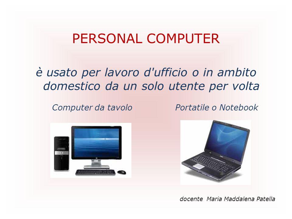 PERSONAL COMPUTER è usato per lavoro d'ufficio o in ambito domestico da un solo utente per volta Computer da tavolo Portatile o Notebook docente Maria