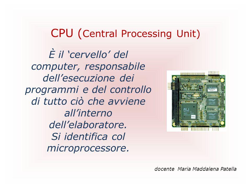 CPU ( Central Processing Unit) docente Maria Maddalena Patella È il cervello del computer, responsabile dellesecuzione dei programmi e del controllo d