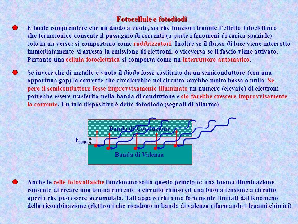 È facile comprendere che un diodo a vuoto, sia che funzioni tramite leffetto fotoelettrico che termoionico consente il passaggio di correnti (a parte