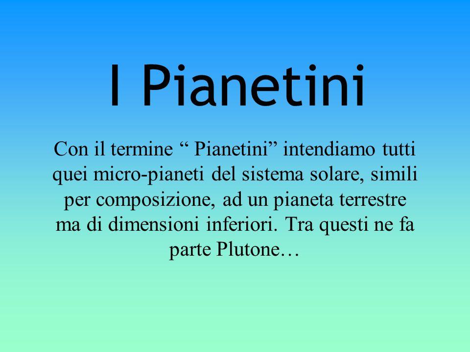 I Pianetini Con il termine Pianetini intendiamo tutti quei micro-pianeti del sistema solare, simili per composizione, ad un pianeta terrestre ma di di