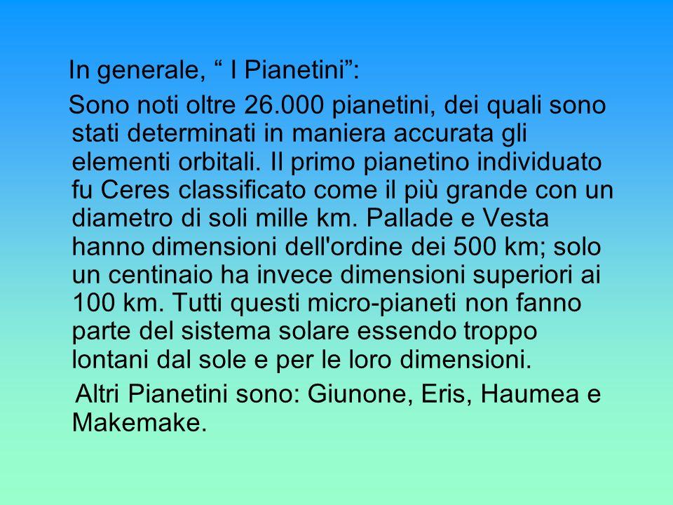 In generale, I Pianetini: Sono noti oltre 26.000 pianetini, dei quali sono stati determinati in maniera accurata gli elementi orbitali. Il primo piane