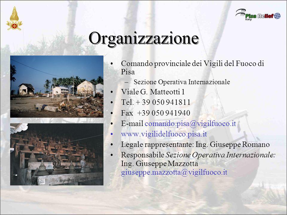 Organizzazione Comando provinciale dei Vigili del Fuoco di Pisa –Sezione Operativa Internazionale Viale G.